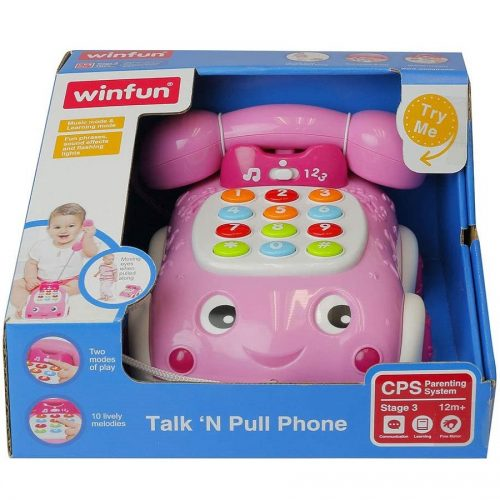 تلفن موزیکال چرخ دار صورتی Winfun مدل 006630